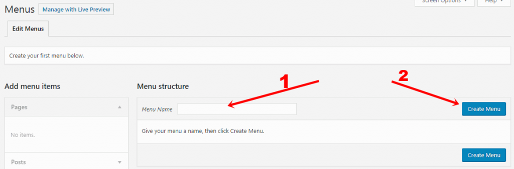 Create wordpress menu