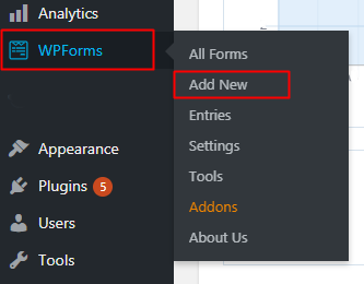 Wpforms Add new form