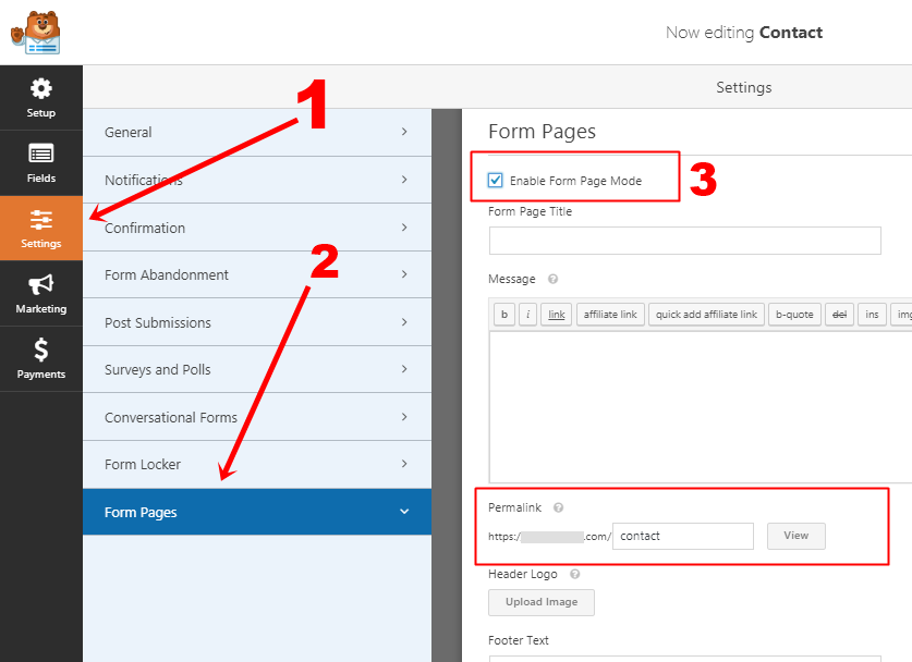 Wpforms Form Pages