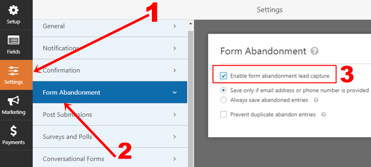 create abandoned form wordpress